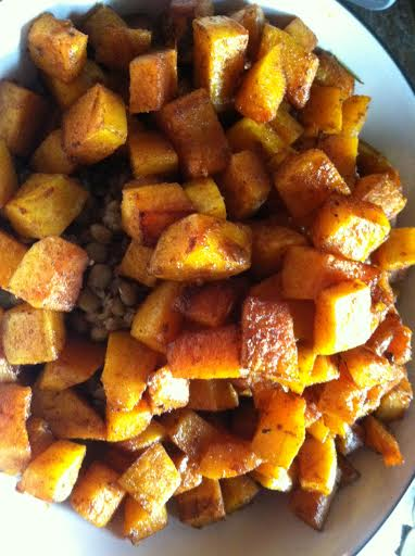 roasted squash on lentil