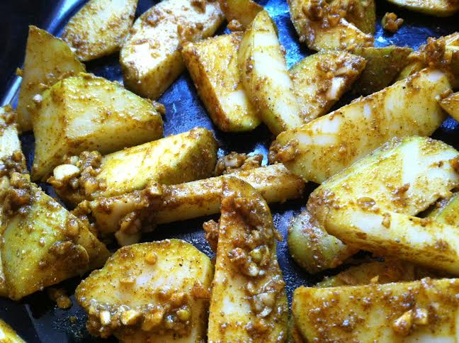 curry fries with garlic