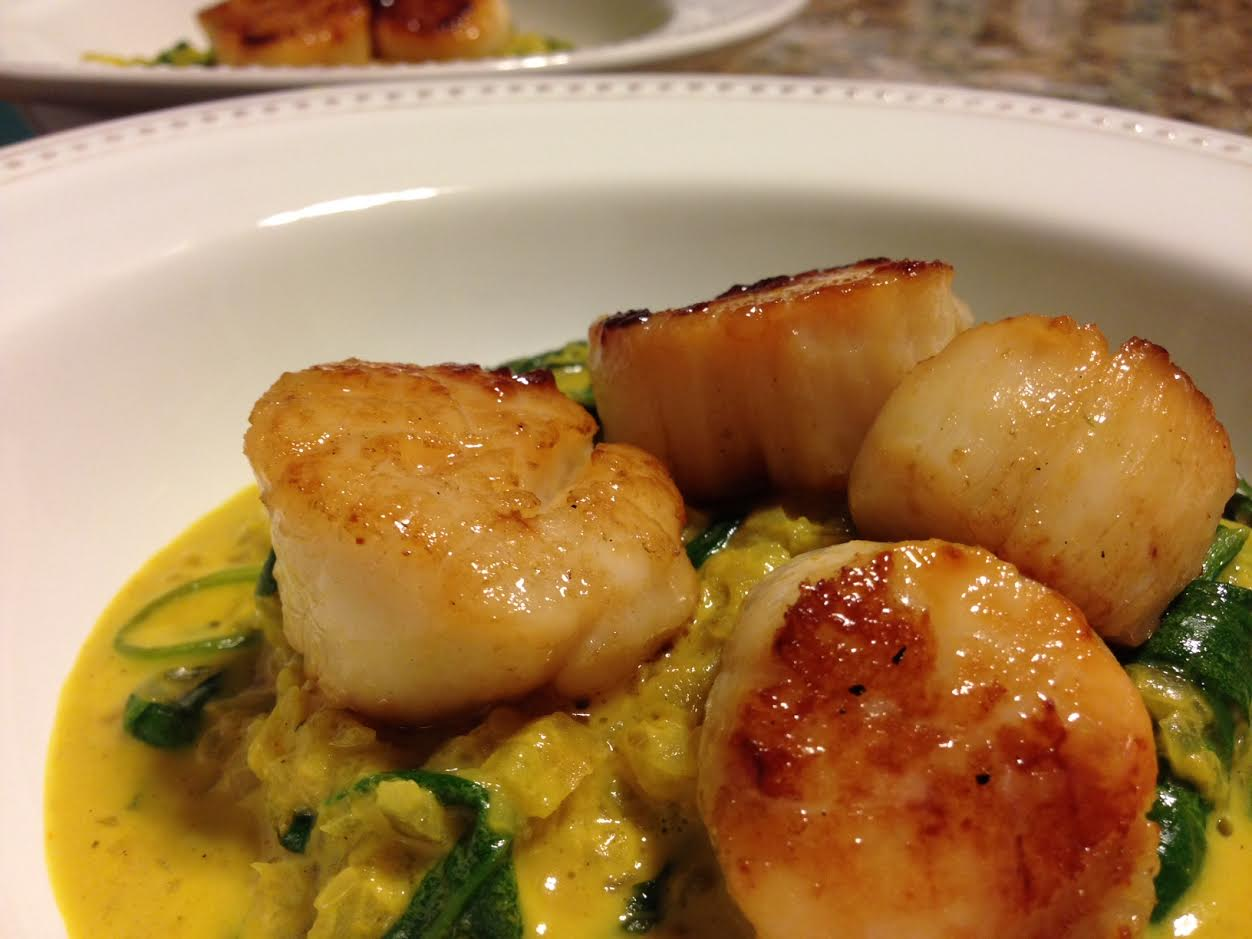 curry and scallops